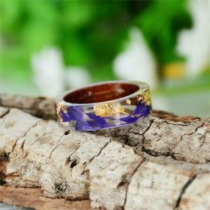 Hand-crafted Resin Ring With Wood, Flowers & Gold